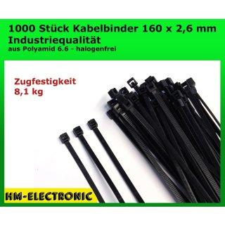1000 St. Kabelbinder Basic Tie schwarz 160 mm x 2,6 mm