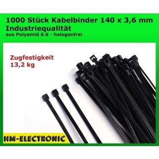 1000 St. Kabelbinder Basic Tie schwarz 140 mm x 3,6 mm