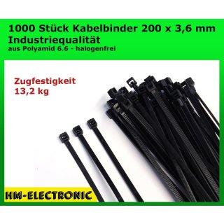 1000 St. Kabelbinder Basic Tie schwarz 200 mm x 3,6 mm