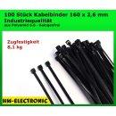 100 St. Kabelbinder Basic Tie schwarz 160 mm x 2,6 mm