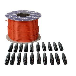 Mikrofonkabel MC-216 100m Rolle und XLR Steckerset 20 Stück rot