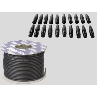DAP Audio DMX Kabel 110 Ohm 100m Rolle und XLR Steckerset 20 Stück
