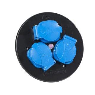 as - Schwabe Steckdoseneinsatz  Variation 3   3-fach blau