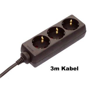 as - Schwabe Steckdosenleisten mit Kinderschutz 11.332 - 3-fach, schwarz, 3m Kabel H05VV-F 3G1,5