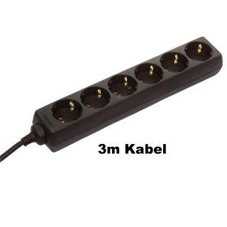as - Schwabe Steckdosenleiste mit Kinderschutz 11.632 - 6-fach schwarz 3m Kabel H05VV-F 3G1,5
