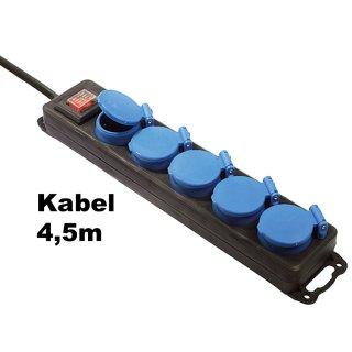 5-fach mit 4,5m Kabel